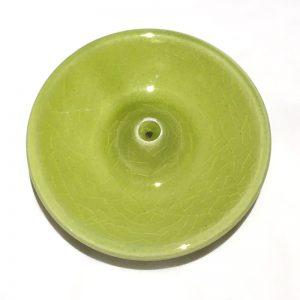 Porte encens en céramique émaillée vert anis