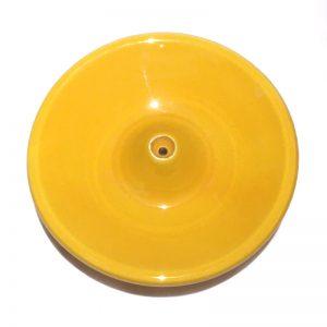 Porte encens en céramique émaillée jaune