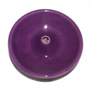 Porte encens en céramique émaillée violet
