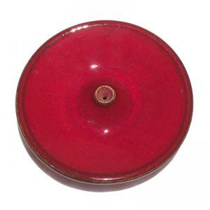 Porte encens en céramique émaillée rouge