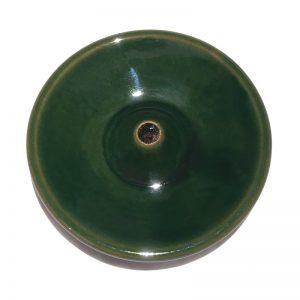 Porte encens en céramique émaillée verte