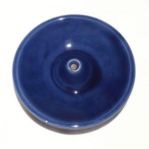 Porte encens en céramique émaillée bleu cobalt