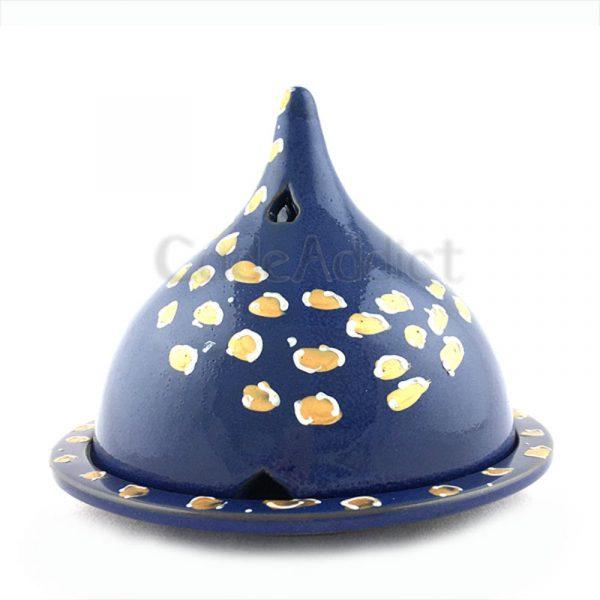 brûleur de cade motif léopard bleu denim